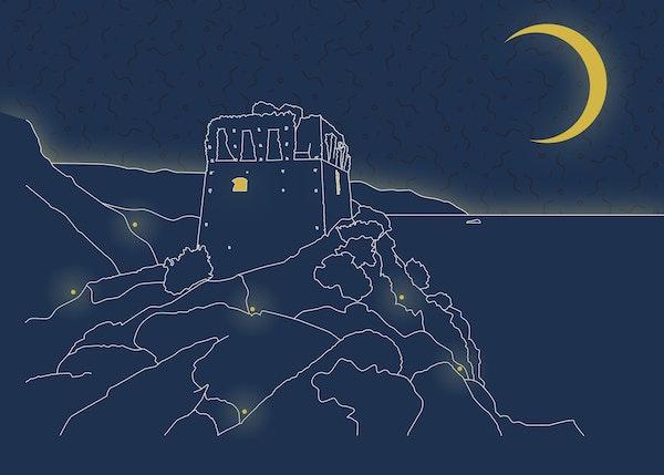 Tra terra e mare con la luna piena