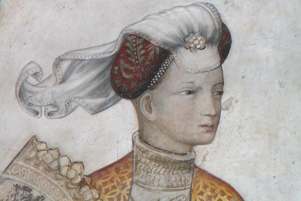 Particolare degli affreschi, CASTELLO DELLA MANTA, MANTA (CN )